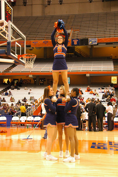 Cheerleader pyramid during a TV break performing to the tune of YMCA by the Village People.