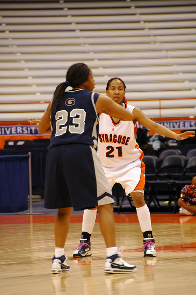 Erica Morrow keeping a close on eye Georgetown's Shanice Fuller.