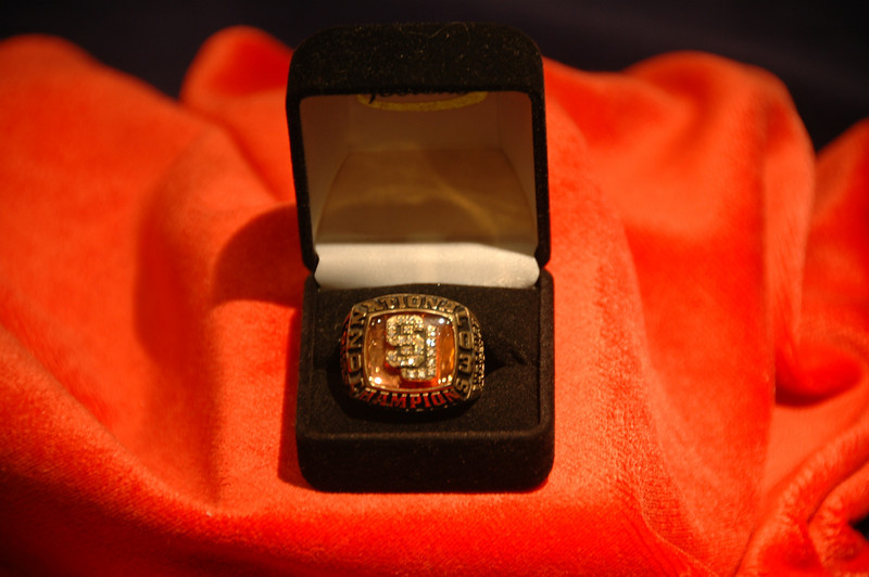 2003 NCAA Championship Ring on display at the Carrier Dome