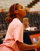 "Nicole Micheal during pre-game workout.  It was ""Think Pink"" day to promote awareness of Breast Cancer and both teams wore pink t-shirts during warmups and pre-game festivities."
