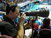 """Gold Coast Blaze Official Photographer Scott Belzner shoots heavy Nikon glass in the game against the Adelaide 36ers, Friday 23 December 2011. Photo by Des Thureson - <a href=""""http://disci.smugmug.com"""">http://disci.smugmug.com</a>"""