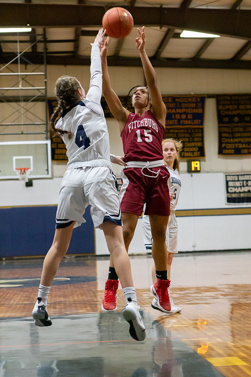 . Fitchburg\'s Diaindra Boddie puts up a shot. SENTINEL & ENTERPRISE / GARY FOURNIER
