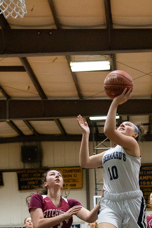 . Brooke Senatore puts up a layup for St. Bernard\'s. SENTINEL & ENTERPRISE / GARY FOURNIER