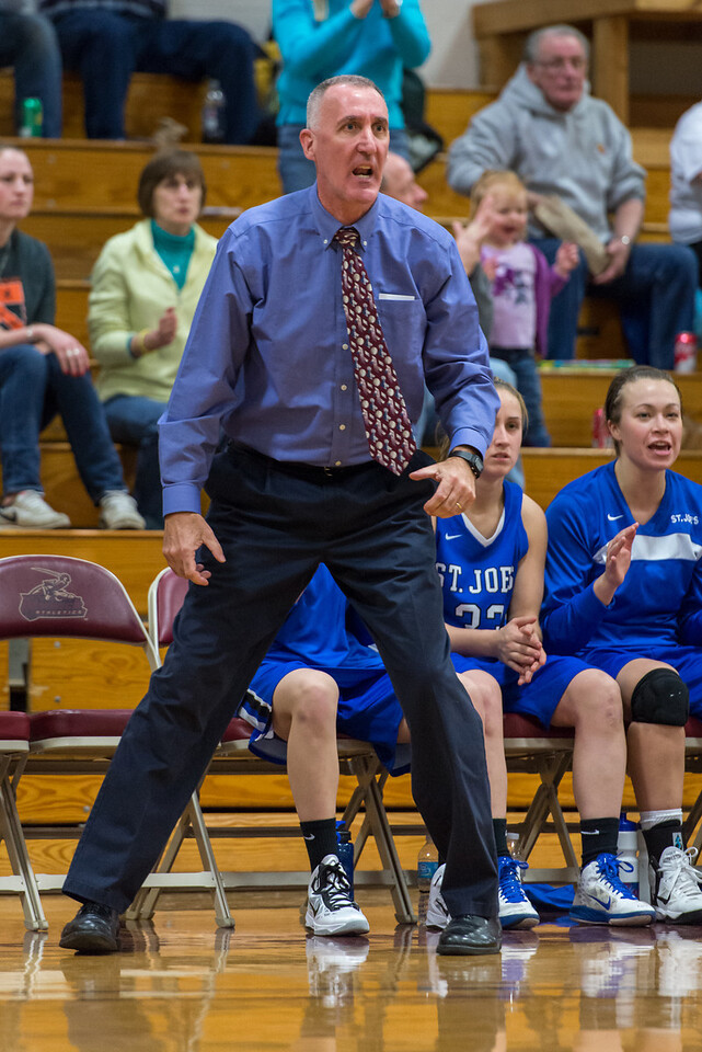 Head Coach Mike McDevitt during the Women's Basketball game between Saint Joseph's (ME) and Norwich University at Norwich University, Northfield, Vermont, USA on January 05, 2013. Photo: Chris Poss
