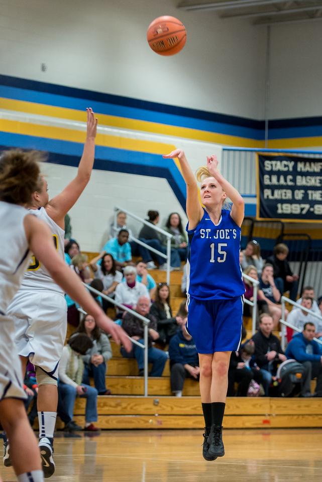 Danyelle Shufelt (15) shoots a jumper during the Women's Basketball game between Saint Joseph's (ME) and Saint Joseph's University (CT) at Saint Joseph's University, Hartford, Connecticut, USA on January 26, 2013. Photo: Chris Poss