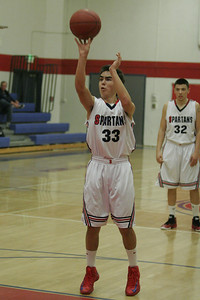 Andrew Pearson (33) shoots free throws against Sierra Pacific on January 17, 2013.