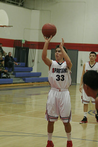 Strathmore Spartan Andrew Pearson shoots freethrows against Sierra Pacific on January 17, 2013.