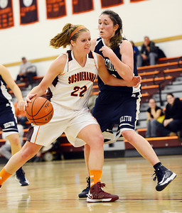 Susquehanna's Gina Palazzi attempts to dribble around Penn State Hazelton's Alexis Daly during the Crusaders' 75-44 win over the Nittany Lions on Wednesday night in Selinsgrove.