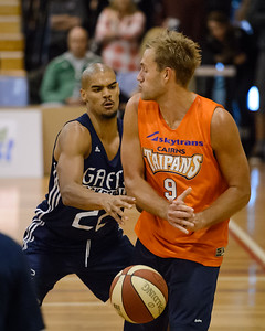 Garrett Jackson, Mitch Young - Cairns Taipans v St Mary's Gaels Basketball, held at The Southport School, Gold Coast, Queensland, Australia; Tuesday 20 August 2013. Camera 1. Photos by Des Thureson - http://disci.smugmug.com.