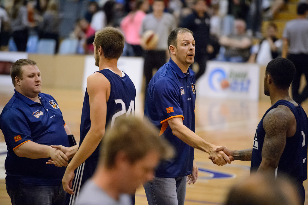 "Aaron Fearne, Grant Spencer - Cairns Taipans v St Mary's Gaels Basketball, held at The Southport School, Gold Coast, Queensland, Australia; Tuesday 20 August 2013. Camera 1. Photos by Des Thureson - <a href=""http://disci.smugmug.com"">http://disci.smugmug.com</a>."