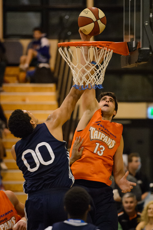 "Stephen Weigh, Brad Waldow - Cairns Taipans v St Mary's Gaels Basketball, held at The Southport School, Gold Coast, Queensland, Australia; Tuesday 20 August 2013. Camera 1. Photos by Des Thureson - <a href=""http://disci.smugmug.com"">http://disci.smugmug.com</a>."