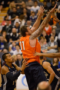 Cameron Tragardh, Stephen Holt - Cairns Taipans v St Mary's Gaels Basketball, held at The Southport School, Gold Coast, Queensland, Australia; Tuesday 20 August 2013. Camera 1. Photos by Des Thureson - http://disci.smugmug.com.