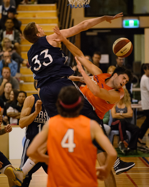 "Stephen Weigh, Matt Hodgeson - Cairns Taipans v St Mary's Gaels Basketball, held at The Southport School, Gold Coast, Queensland, Australia; Tuesday 20 August 2013. Camera 1. Photos by Des Thureson - <a href=""http://disci.smugmug.com"">http://disci.smugmug.com</a>."