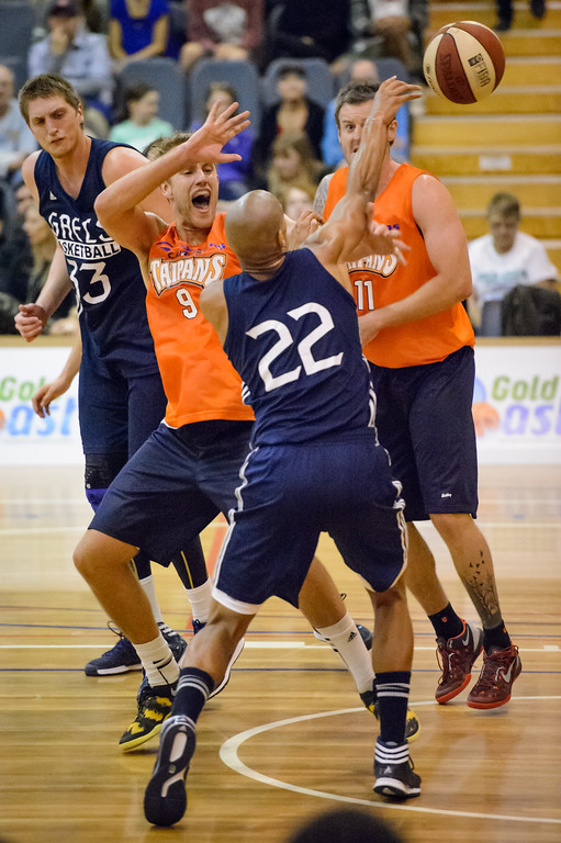 "Garrett Jackson, Mitch Young - Cairns Taipans v St Mary's Gaels Basketball, held at The Southport School, Gold Coast, Queensland, Australia; Tuesday 20 August 2013. Camera 1. Photos by Des Thureson - <a href=""http://disci.smugmug.com"">http://disci.smugmug.com</a>."
