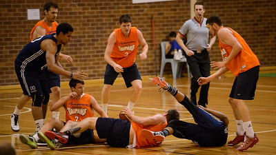 James Walker III, Cameron Gliddon, Cameron Tragardh - Cairns Taipans v St Mary's Gaels Basketball, held at The Southport School, Gold Coast, Queensland, Australia; Tuesday 20 August 2013. Camera 1. Photos by Des Thureson - http://disci.smugmug.com.