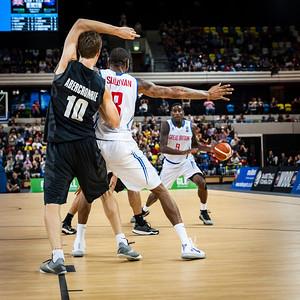 Great Britain vs. New Zealand Tall Blacks at the Copper Box Arena, London, 25th July 2015. NZ win 84-63