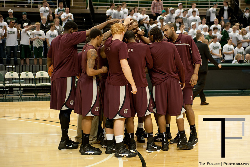 Nov 20, 2011; East Lansing, MI, USA; The Arkansas Little Rock Trojans before the game against the Michigan State Spartans at the Breslin Center. Mandatory Credit: Tim Fuller-US PRESSWIRE