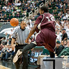 Nov 20, 2011; East Lansing, MI, USA; Arkansas Little Rock Trojans forward Courtney Jackson (12) saves the ball from going out of bounds during the first half against the Michigan State Spartans at the Breslin Center. Mandatory Credit: Tim Fuller-US PRESSWIRE
