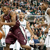 Nov 20, 2011; East Lansing, MI, USA; Arkansas Little Rock Trojans guard D'Andre Williams (10) loose the ball in the lane during the second half against the Michigan State Spartans at the Breslin Center. The Spartans won 69-47. Mandatory Credit: Tim Fuller-US PRESSWIRE