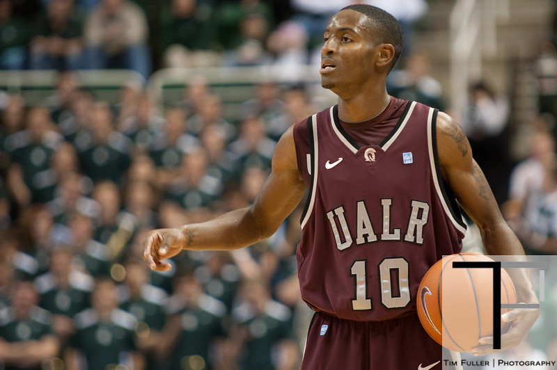 Nov 20, 2011; East Lansing, MI, USA; Arkansas Little Rock Trojans guard D'Andre Williams (10) sets up a play  during the first half against the Michigan State Spartans at the Breslin Center. Mandatory Credit: Tim Fuller-US PRESSWIRE