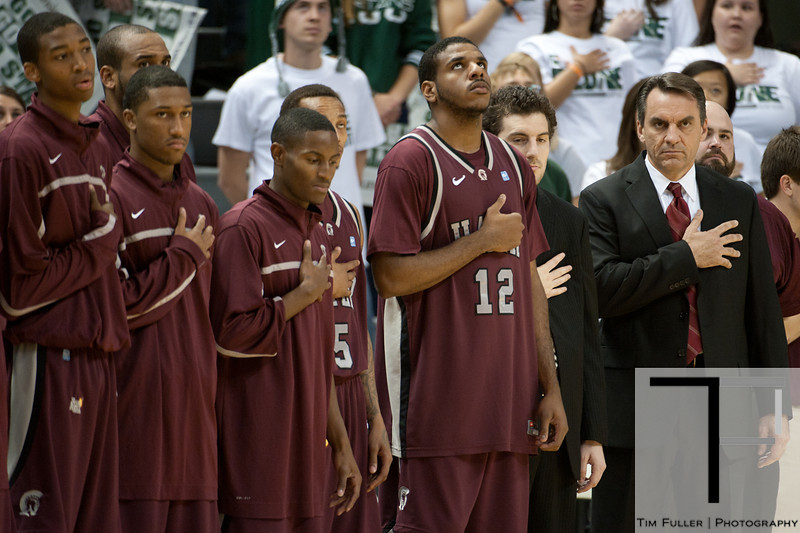 Nov 20, 2011; East Lansing, MI, USA; The Arkansas Little Rock Trojans during the singing of the National Anthem before their game against the Michigan State Spartans at the Breslin Center. Mandatory Credit: Tim Fuller-US PRESSWIRE