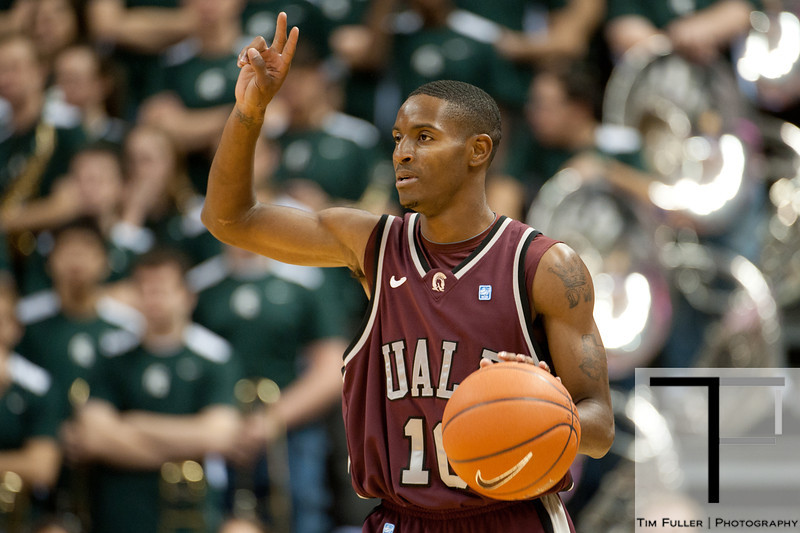 Nov 20, 2011; East Lansing, MI, USA; Arkansas Little Rock Trojans guard D'Andre Williams (10) during the first half against the Michigan State Spartans at the Breslin Center. Mandatory Credit: Tim Fuller-US PRESSWIRE