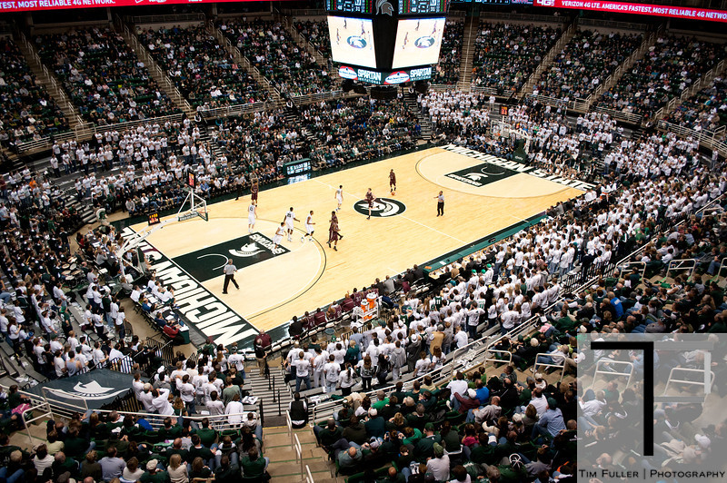 Nov 20, 2011; East Lansing, MI, USA; A genral view of the Breslin Center during the second half between the Michigan State Spartans and the Arkansas Little Rock Trojans. The Spartans won 69-47. Mandatory Credit: Tim Fuller-US PRESSWIRE