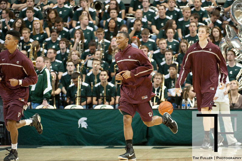 Nov 20, 2011; East Lansing, MI, USA; The Arkansas Little Rock Trojans take the court before the start of the game against the Michigan State Spartans at the Breslin Center. Mandatory Credit: Tim Fuller-US PRESSWIRE