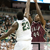 Nov 20, 2011; East Lansing, MI, USA; Michigan State Spartans forward Draymond Green (23) blocks Arkansas Little Rock Trojans forward Michael Javes (44) shot during the first half at the Breslin Center. Mandatory Credit: Tim Fuller-US PRESSWIRE