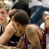 Nov 20, 2011; East Lansing, MI, USA; Arkansas Little Rock Trojans forward Will Neighbour (left) talks to teammates during the second half against the Michigan State Spartans at the Breslin Center. The Spartans won 69-47. Mandatory Credit: Tim Fuller-US PRESSWIRE