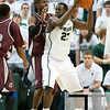 Nov 20, 2011; East Lansing, MI, USA; Michigan State Spartans forward Draymond Green (23) looks to pass during the second half against the Arkansas Little Rock Trojans at the Breslin Center. The Spartans won 69-47. Mandatory Credit: Tim Fuller-US PRESSWIRE