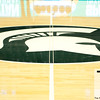 Nov 20, 2011; East Lansing, MI, USA; The Michigan State Spartans logo before the game against the Arkansas Little Rock Trojans at the Breslin Center. Mandatory Credit: Tim Fuller-US PRESSWIRE