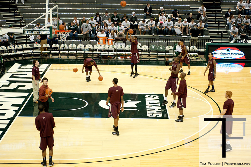 Nov 20, 2011; East Lansing, MI, USA; The Arkansas Little Rock Trojans warm up before the game against the Michigan State Spartans at the Breslin Center. Mandatory Credit: Tim Fuller-US PRESSWIRE