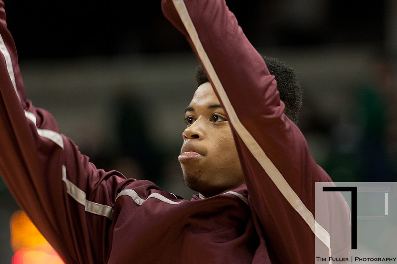 Nov 20, 2011; East Lansing, MI, USA; Arkansas Little Rock Trojans guard Chuck Guy (13) warms up before the game against the Michigan State Spartans at the Breslin Center. Mandatory Credit: Tim Fuller-US PRESSWIRE