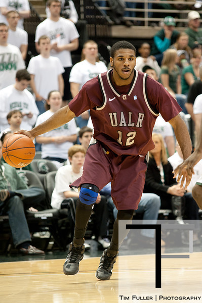 Nov 20, 2011; East Lansing, MI, USA; Arkansas Little Rock Trojans forward Courtney Jackson (12) drives to the hoop against the Michigan State Spartans during the second half at the Breslin Center. The Spartans won 69-47. Mandatory Credit: Tim Fuller-US PRESSWIRE