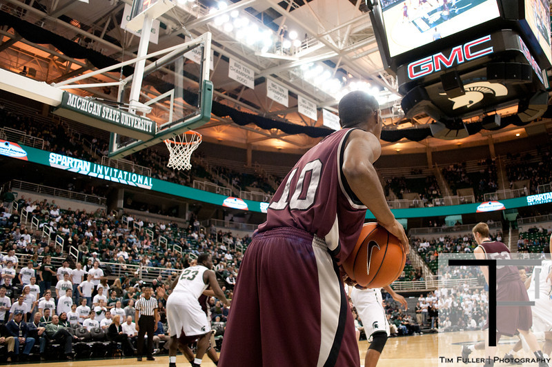 Nov 20, 2011; East Lansing, MI, USA; Arkansas Little Rock Trojans guard D'Andre Williams (10) looks to inbound the ball against the Michigan State Spartans during the second half at the Breslin Center. The Spartans won 69-47. Mandatory Credit: Tim Fuller-US PRESSWIRE