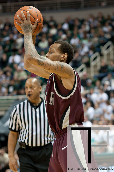 Nov 20, 2011; East Lansing, MI, USA; Arkansas Little Rock Trojans guard Eric Lawton (5) during the first half against the Michigan State Spartans at the Breslin Center. Mandatory Credit: Tim Fuller-US PRESSWIRE