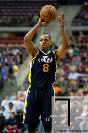 Jan 12, 2013; Auburn Hills, MI, USA; Utah Jazz point guard Randy Foye (8) during the fourth quarter against the Detroit Pistons at The Palace. Jazz won 90-87. Mandatory Credit: Tim Fuller-USA TODAY Sports