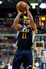 Jan 12, 2013; Auburn Hills, MI, USA; Utah Jazz point guard Earl Watson (11) during the fourth quarter against the Detroit Pistons at The Palace. Jazz won 90-87. Mandatory Credit: Tim Fuller-USA TODAY Sports