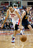Jan 12, 2013; Auburn Hills, MI, USA; Detroit Pistons small forward Tayshaun Prince (22) and Utah Jazz shooting guard Gordon Hayward (20) go after a loose ball during the second quarter at The Palace. Mandatory Credit: Tim Fuller-USA TODAY Sports
