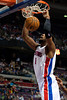 Jan 12, 2013; Auburn Hills, MI, USA; Detroit Pistons center Andre Drummond (1) slam dunks during the second quarter against the Utah Jazz at The Palace. Mandatory Credit: Tim Fuller-USA TODAY Sports