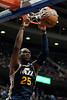 Jan 12, 2013; Auburn Hills, MI, USA; Utah Jazz center Al Jefferson (25) slam dunks during the fourth quarter against the Detroit Pistons at The Palace. Jazz won 90-87. Mandatory Credit: Tim Fuller-USA TODAY Sports