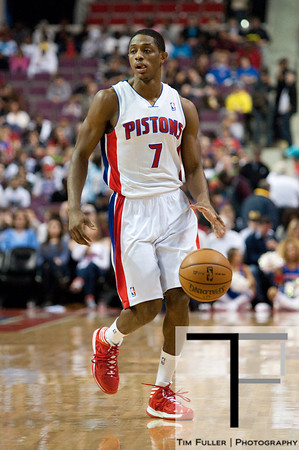 Jan 12, 2013; Auburn Hills, MI, USA; Detroit Pistons point guard Brandon Knight (7) brings the ball up court against the Utah Jazz during the first quarter at The Palace. Mandatory Credit: Tim Fuller-USA TODAY Sports