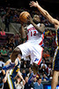 Jan 12, 2013; Auburn Hills, MI, USA; Detroit Pistons point guard Will Bynum (12) goes to the basket against Utah Jazz during the second quarter at The Palace. Mandatory Credit: Tim Fuller-USA TODAY Sports