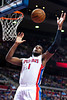 Jan 12, 2013; Auburn Hills, MI, USA; Detroit Pistons center Andre Drummond (1) grabs a rebound during the second quarter against the Utah Jazz at The Palace. Mandatory Credit: Tim Fuller-USA TODAY Sports