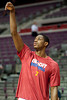 Jan 12, 2013; Auburn Hills, MI, USA; Detroit Pistons point guard Brandon Knight (7) warms up before the game against the Utah Jazz at The Palace. Mandatory Credit: Tim Fuller-USA TODAY Sports