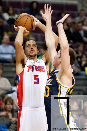 Jan 12, 2013; Auburn Hills, MI, USA; Detroit Pistons power forward Austin Daye (5) shoots over Utah Jazz shooting guard Gordon Hayward (20) during the second quarter at The Palace. Mandatory Credit: Tim Fuller-USA TODAY Sports