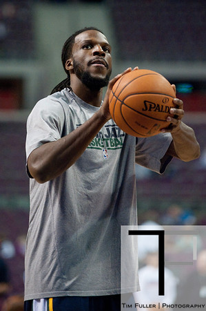 Jan 12, 2013; Auburn Hills, MI, USA; Utah Jazz small forward DeMarre Carroll (3) warms up before the game against the Detroit Pistons at The Palace. Mandatory Credit: Tim Fuller-USA TODAY Sports