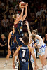 Marta Dydek towers over her defender as she shoots - WNBL: Logan Thunder v Bendigo Spirit 12 February, 2010. The Bendigo Spirit were down most of the the game, but ended up with the win, 86-82.