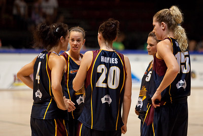 The Thunder on-court-5 have a quick conference - WNBL: Logan Thunder v Bendigo Spirit 12 February, 2010. The Bendigo Spirit were down most of the the game, but ended up with the win, 86-82.